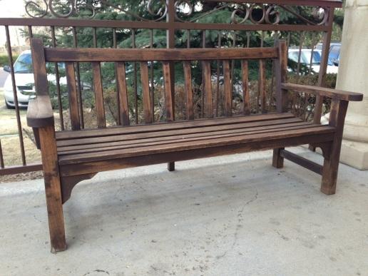 Bench outside of restaurant